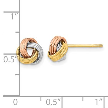 14k Tri-Color Polished Love Knot Post Earrings