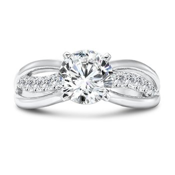 Diamond Criss Cross Engagement Ring in 14K White Gold with Platinum Head (1-1/2ct. tw.)