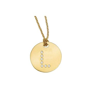 18KT GOLD DISC PENDANT WITH DIAMOND INITIAL L