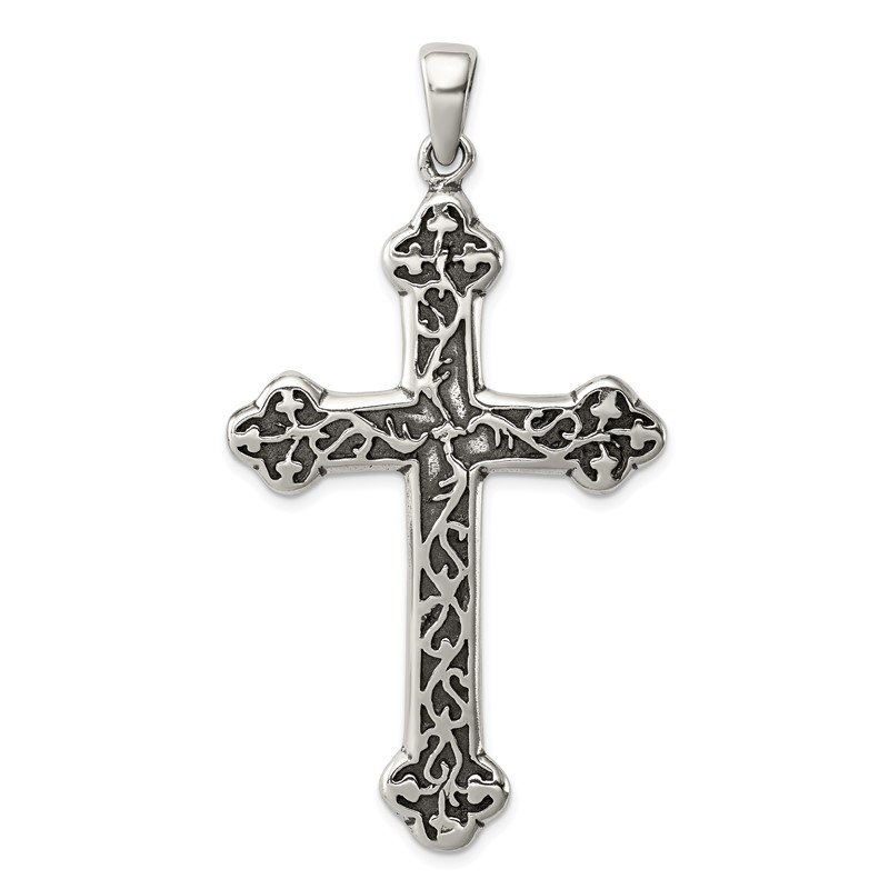 Sterling Silver Antiqued Thorn Cross Pendant