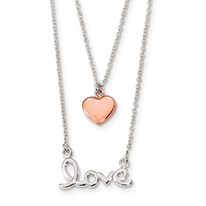 Quality Gold Sterling Silver Rose-tone LOVE and Heart 18in Necklace
