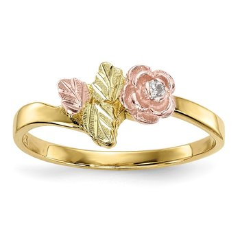 10k Tri-Color Black Hills Gold Diamond Rose Ring