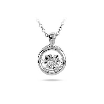 925 SS and diamond Round Solitaire Dancing Diamond Pendant in Miracle Setting