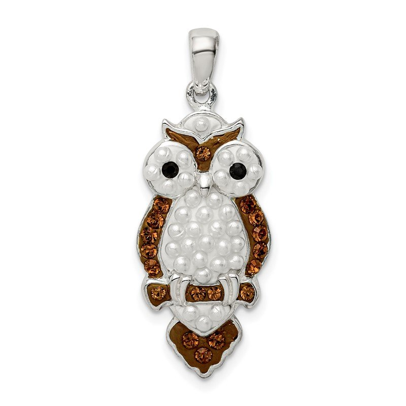 Quality Gold Sterling Silver Imitation Pearl & Preciosa Crystal Owl Pendant
