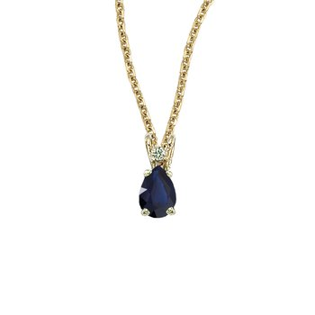 14K Yellow Gold Pear Shaped Sapphire & Diamond Pendant