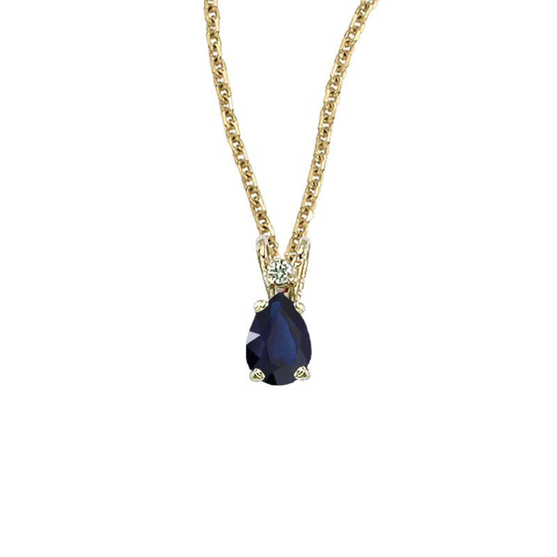 Color Merchants 14K Yellow Gold Pear Shaped Sapphire & Diamond Pendant