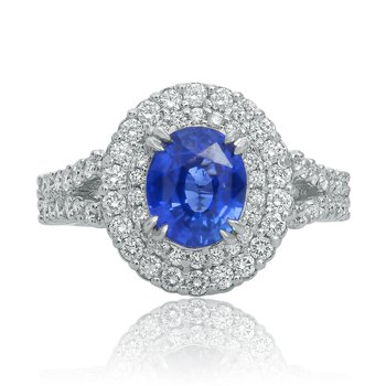Double Halo Sapphire & Diamond Ring