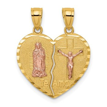 14K Two-tone Reversible Lady of Guadalupe&Crucifix Breakapart Pendant