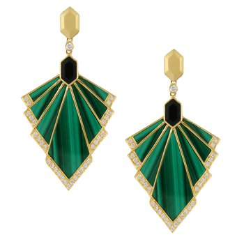 Verde Malachite Fan Dangles 18KY