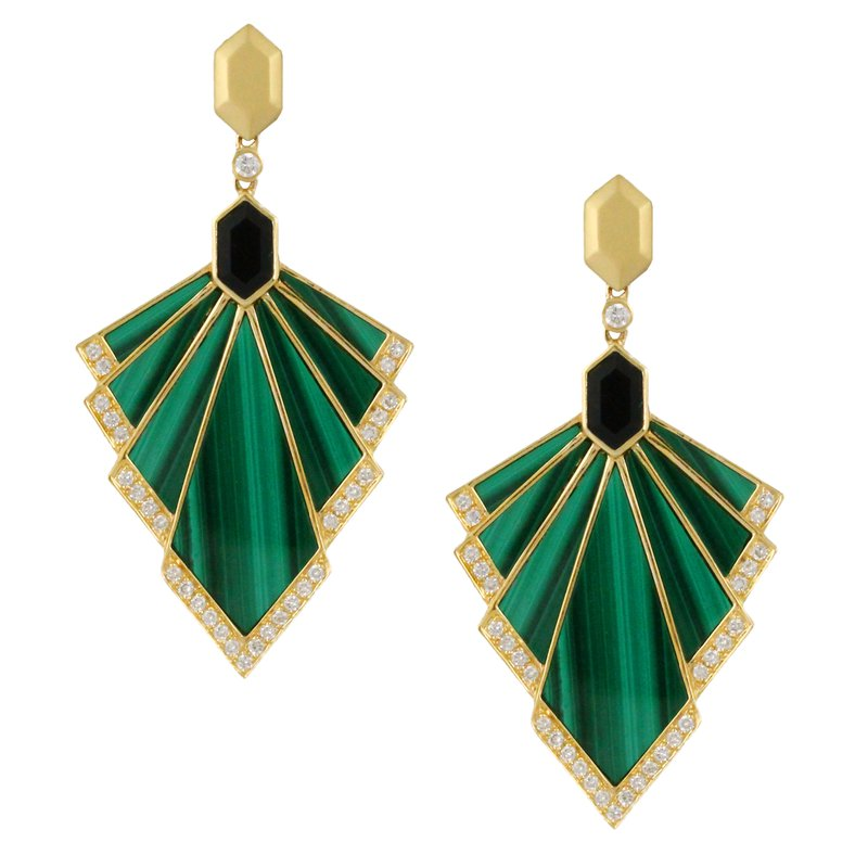 Doves Verde Malachite Fan Dangles 18KY