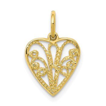 10k Polished 3-D Woven Heart Pendant