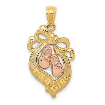 14k Yellow and Rose Gold It's a Girl Bow Pendant