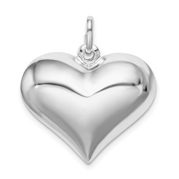 Sterling Silver Rhodium-plated Puffed Heart Pendant