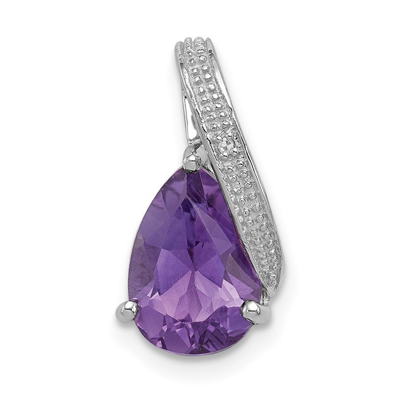 Quality Gold Sterling Silver Rhodium Plated Diamond & Amethyst Teardrop Pendant