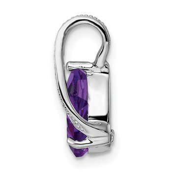 Sterling Silver Rhodium Plated Diamond & Amethyst Teardrop Pendant