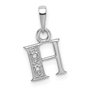 14KW Rhodium-plated Diamond Letter H Initial Pendant