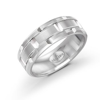 8mm all white gold brick motif band