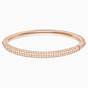 Stone Bangle, White, Rose-gold tone plated