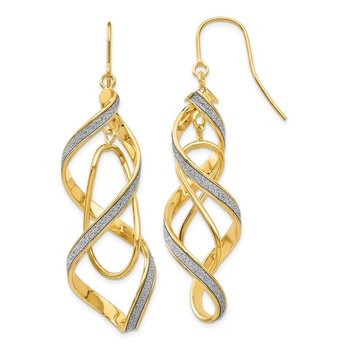14k Polished Glitter Infused Spiral Dangle Earrings