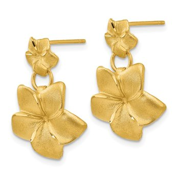 14k Plumeria Dangle Earrings