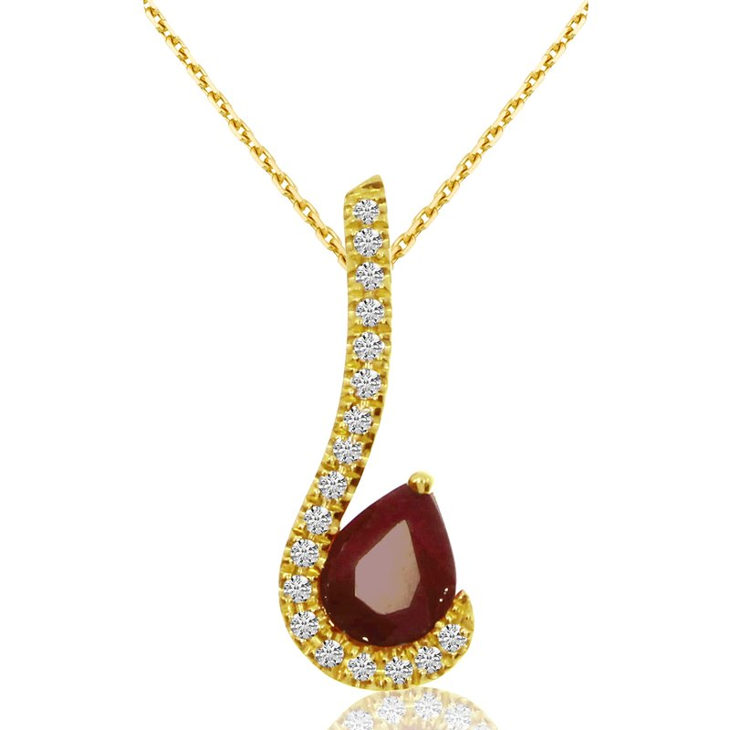 Color Merchants 14k Yellow Gold Pear-shaped Ruby and Diamond Pendant