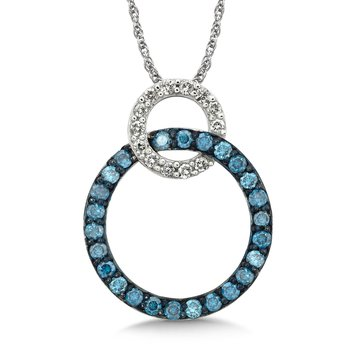 Pave set Blue and White Diamond Linked Circle Pendant, 14k White Gold  (1/2 ct. dtw.)