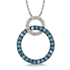 SDC Creations Pave set Blue and White Diamond Linked Circle Pendant, 14k White Gold  (1/2 ct. dtw.)