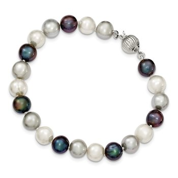 Sterling Silver 8-9mm FW Cultured White/Platinum/Black Pearl Neck