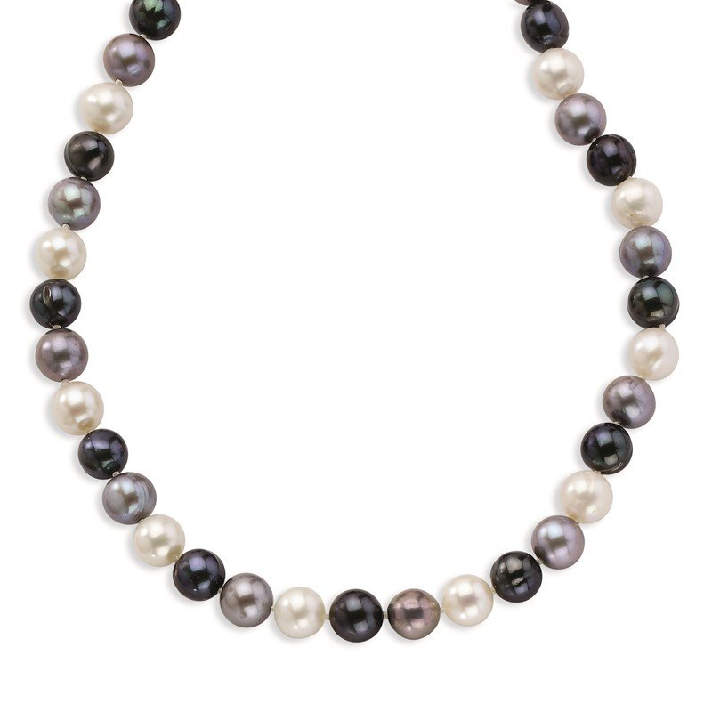 Quality Gold Sterling Silver 8-9mm FW Cultured White/Platinum/Black Pearl Neck