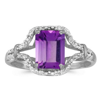 10k White Gold Emerald-cut Amethyst And Diamond Ring