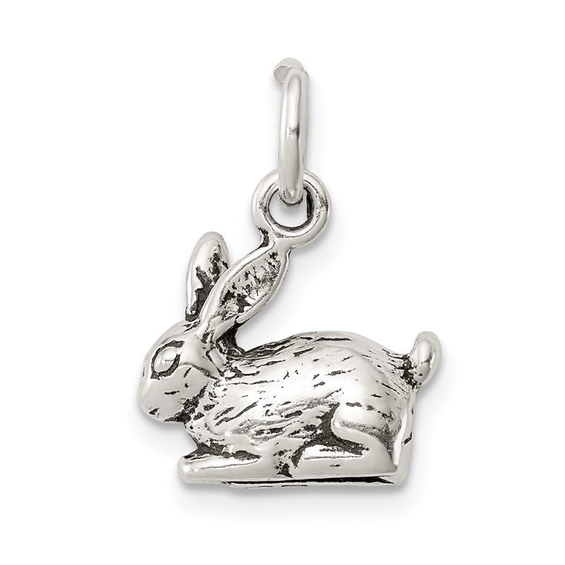 Quality Gold Sterling Silver Antiqued Rabbit Charm