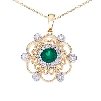 14k Two-Tone Emerald and Diamond Filigree Pendant