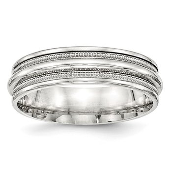 SS 7mm Polished Fancy Band Size 10