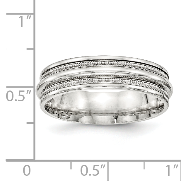 Bridal Wedding Bands Fancy Bands SS 7mm Polished Fancy Band Size 10 Size 7.5