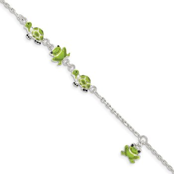 Sterling Silver Enamel Turtle and Frog 6in Bracelet
