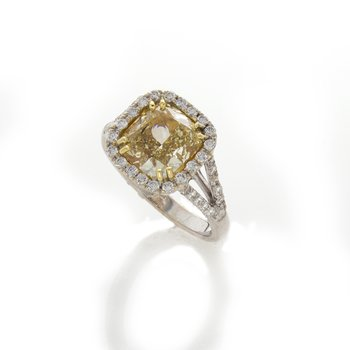 FANCY YELLOW CUSHION 3.01 DIAMOND RING
