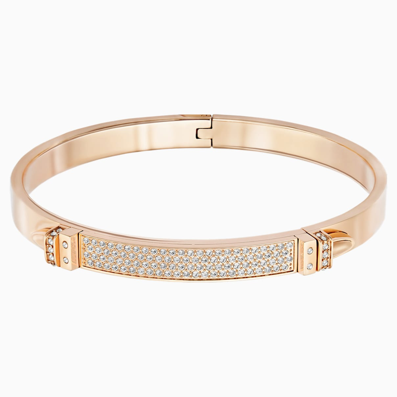 Swarovski Distinct Bangle, White, Rose-gold tone plated