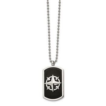 Stainless Steel Brushed and Polished Black IP-plated Compass 24in Necklace