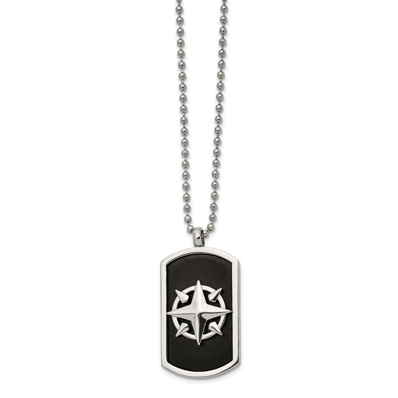 Chisel Stainless Steel Brushed and Polished Black IP-plated Compass 24in Necklace