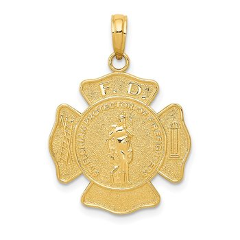 14k Fire Department FD St. Florian Badge Pendant