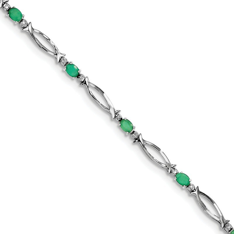 Quality Gold Sterling Silver Rhodium-plated Emerald and Diamond Bracelet