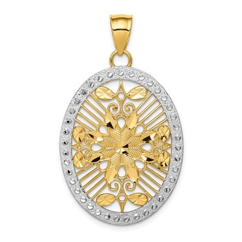 14K and White Rhodium Polished & Diamond-cut Oval Pendant