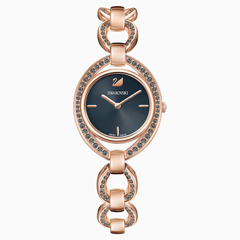 Stella Watch, Metal bracelet, Dark gray, Rose-gold tone PVD