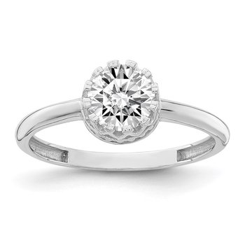 10k Tiara Collection White Gold Polished CZ Ring