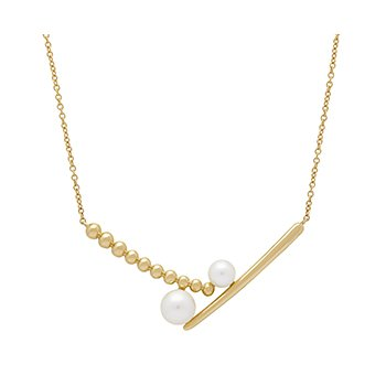 "Honora 14KY Double 4.5-6.5mm White Round Freshwater Cultured Pearls  Pebble Bar 18"" Necklace"