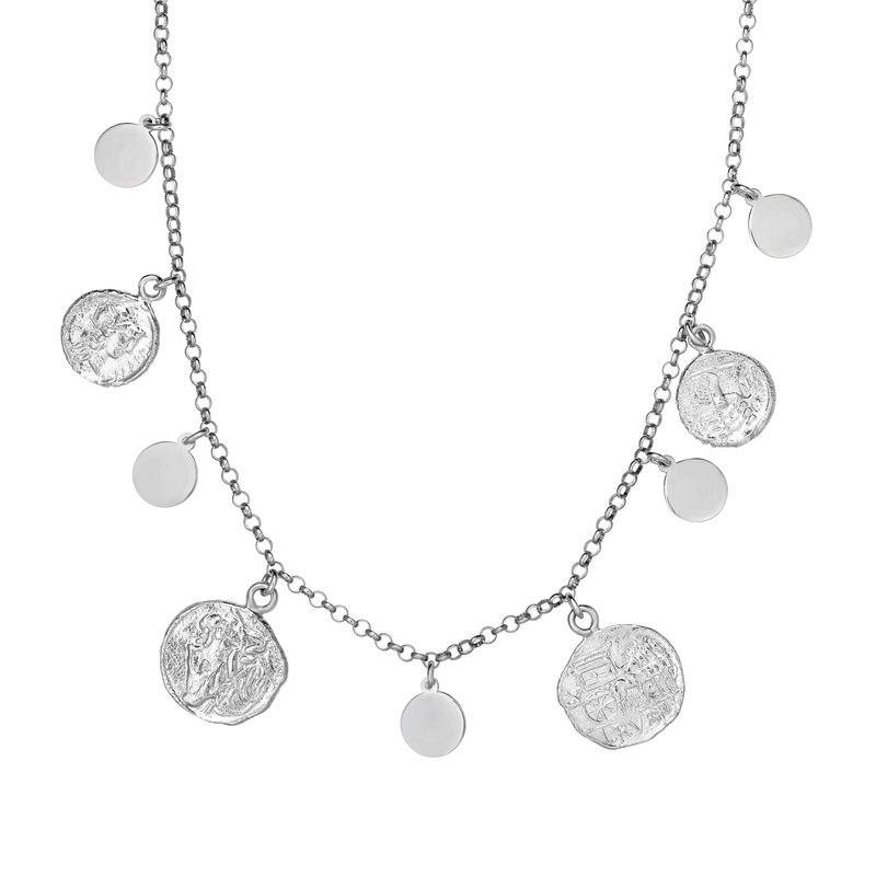 Royal Chain Silver Roman Coin Dangle Necklace