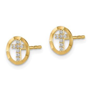 14k Madi K CZ Diamond-Cut Circle Cross Post Earrings