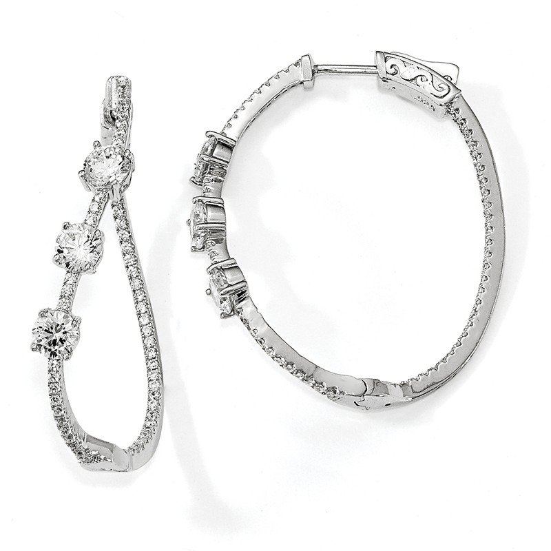 Quality Gold Sterling Silver Polished Curvy Round CZ In and Out Oval Hoop Earrings