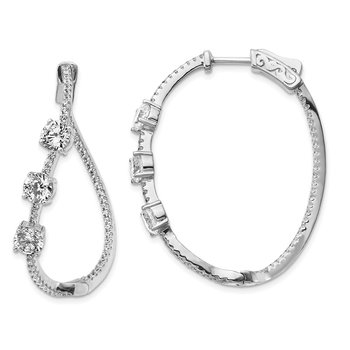 Sterling Silver Polished Curvy Round CZ In and Out Oval Hoop Earrings