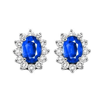 Sapphire & Diamond Flower Halo Earrings in 14K White Gold